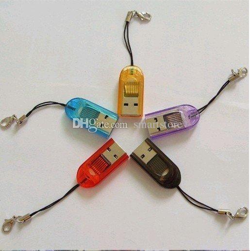 800 pz / lotto Micro Micro TF / T-Flash TF Portable Slot di segnale USB 2.0 Keychain Memory Card Spedizione gratuita