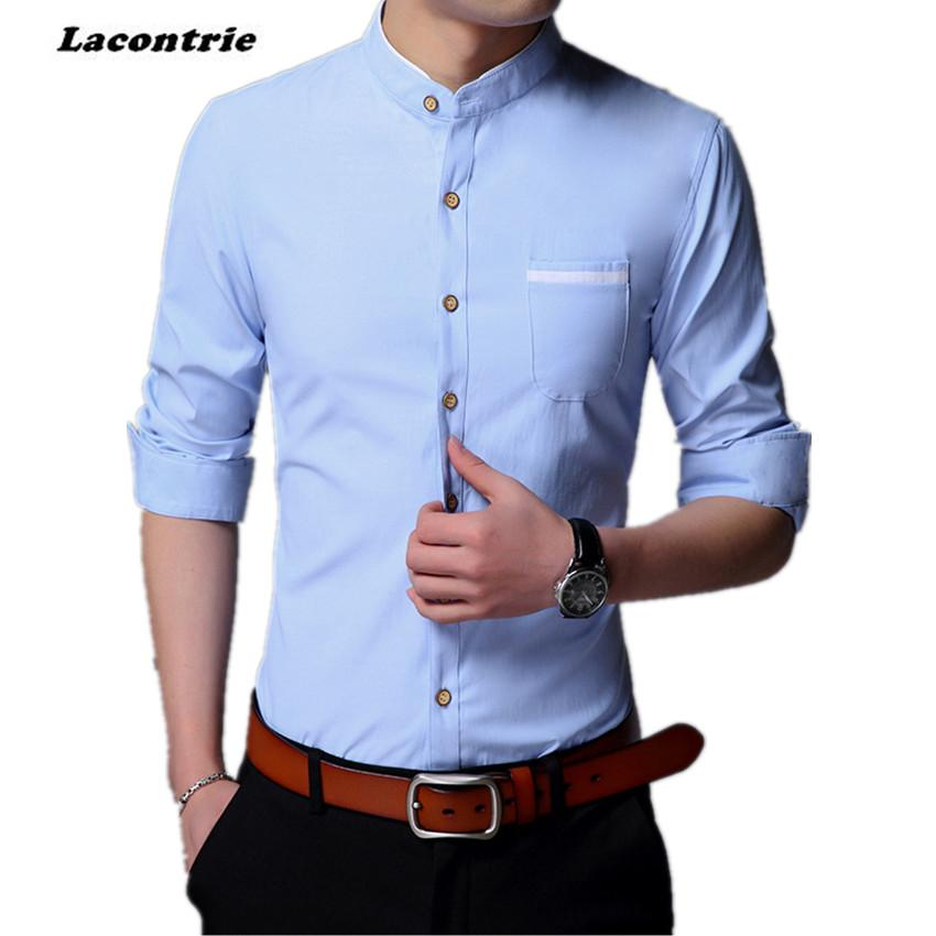 637cd27b67 Wholesale- 2017 Men Mandarin Collar Dress Shirt Brand Solid Color Men's  Shirts New Arrival Men Long Sleeve Shirt MST014