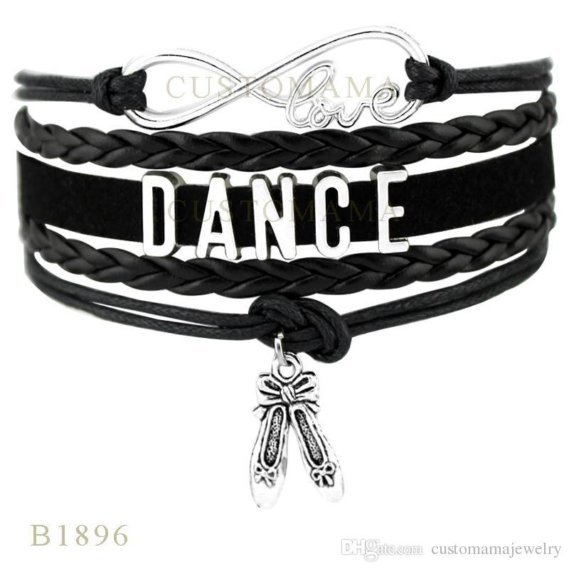 Custom-Infinity Love Dance Charm Wrap Bracelets Gift for Dancer Dancing Bracelets Black Leather Suede Custom any Themes