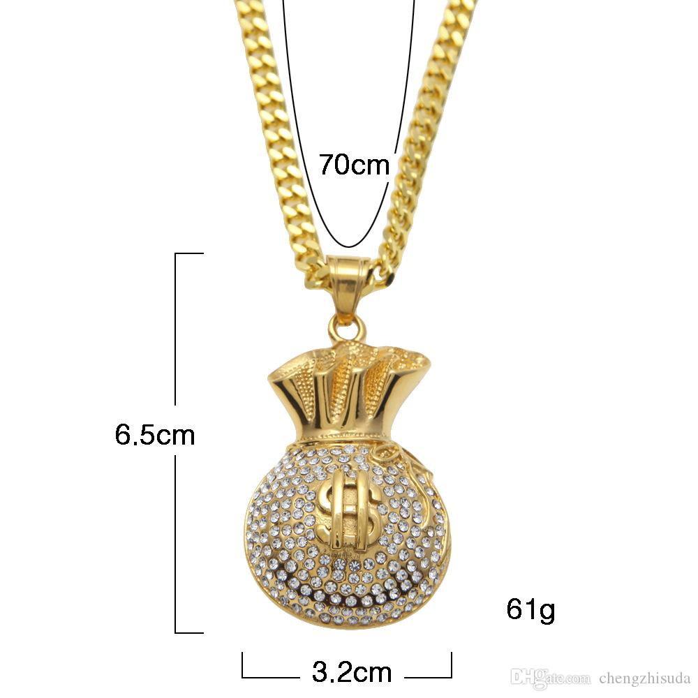 Gold Plated Iced Out Cz Glitter Cash Money Bag Pendant Stainless Steel Cuban Chain Hip Hop Necklace