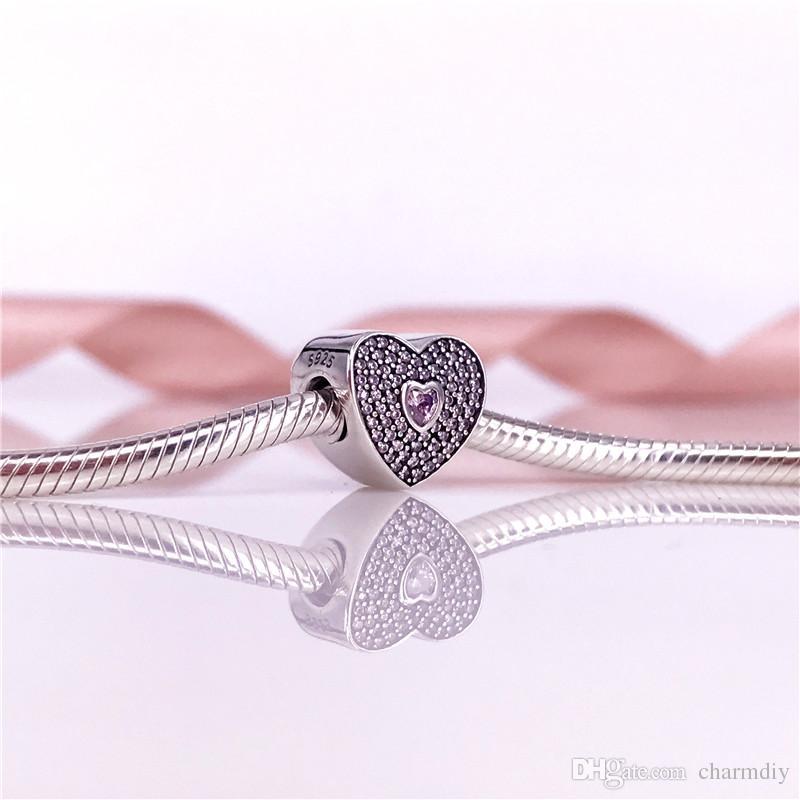 Autentico 925 Sterling Silver Sweetheart Charm Fancy Rosa CZ Perline Fit Europeo Catena Del Serpente Braccialetto Gioielli FAI DA TE 791555CZS