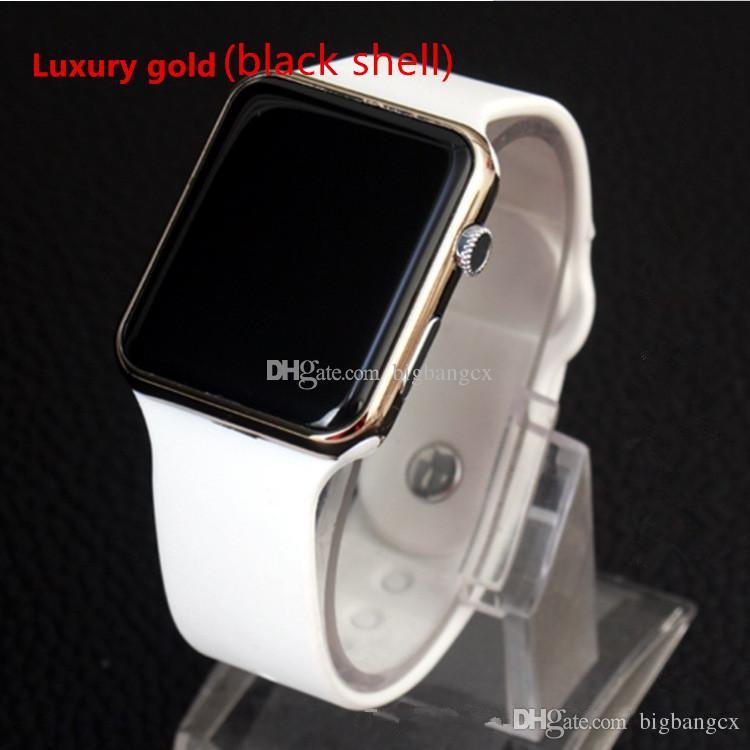 Heiße quadratische Spiegel Gesicht Silikon Band Digitaluhr rote LED Uhren Metallrahmen Armbanduhr Sport Uhr Stunden Digitaluhr