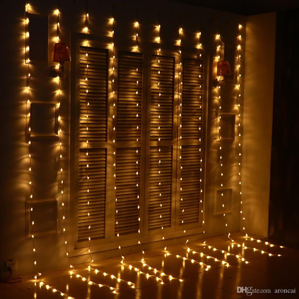 cheap 3 3m 320 bulbs led christmas lights outdoor waterfall curtain lights garland new year wedding party holiday lights decoration lighting battery - Waterfall Christmas Lights