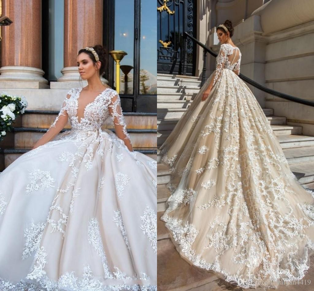 2018 Luxury Wedding Dresses Plus Size Lace Appliques 3d Floral Flowers Blush Pink Ball Gown Deep V Neck Long Sleeves Formal Bridal Gowns Simple: Simple Rose Color Wedding Dresses At Websimilar.org