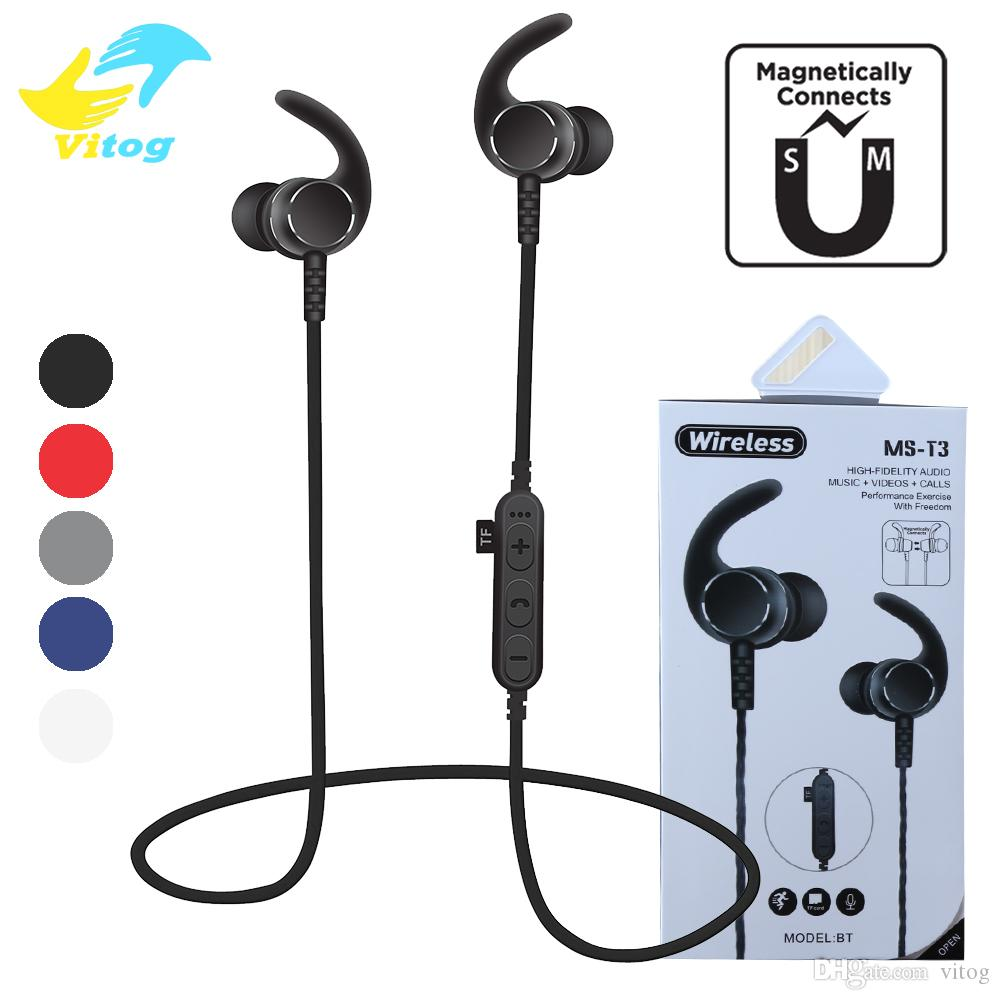 548fe57227d MS T3 Magnetic Wireless Bluetooth Headphones Running Headset With Mic MP3  Earbud Bass Stereo BT 4.2 For Iphone Xiaomi Samsung Wired Cell Phone Headset  Wired ...