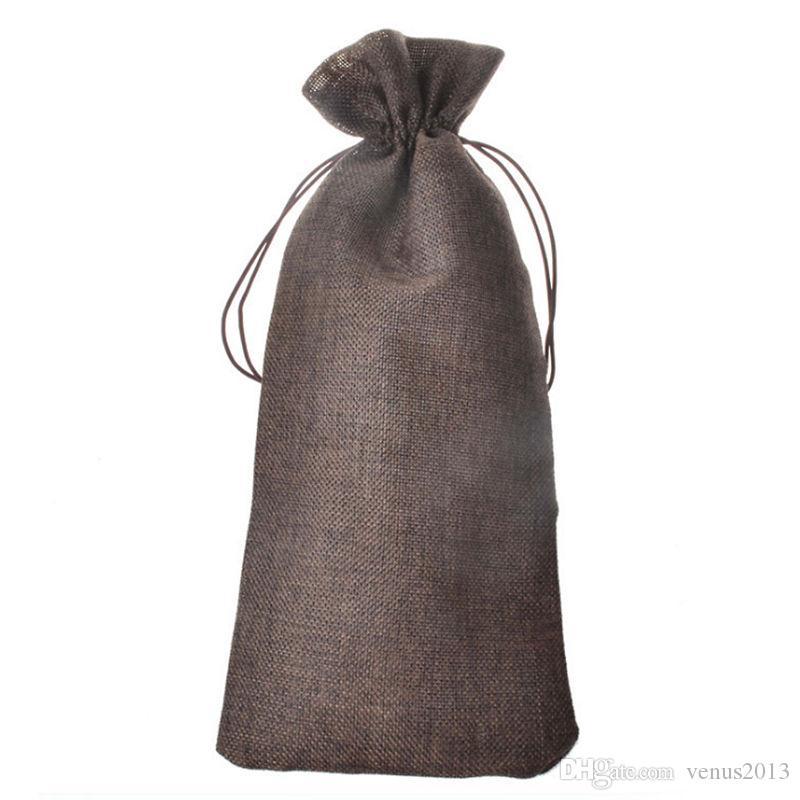 Джут бутылки вина подарочные пакеты Бургундия 16 * 36 см рождественские украшения вина складные сумки праздничные поставки
