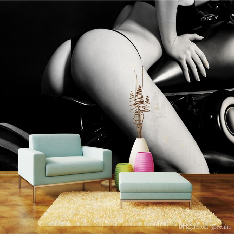 Sexy Motorcycle Girl Wallpaper Black U0026 White Photo Wallpaper HD Picture  Custom 3D Mural Home Decor Wall Art Bedroom Sofa TV Background Wall Love  Wallpaper ...