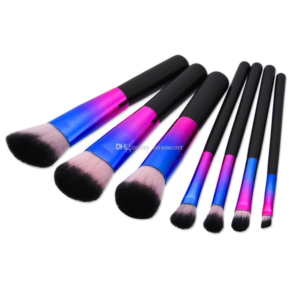 7 / Kakuki Makeup Brushes Set Professional Colorful Bright Synthetic Foundation Powder Blush Eyeshadow Eyeliner Oval Makeup Brush Kit