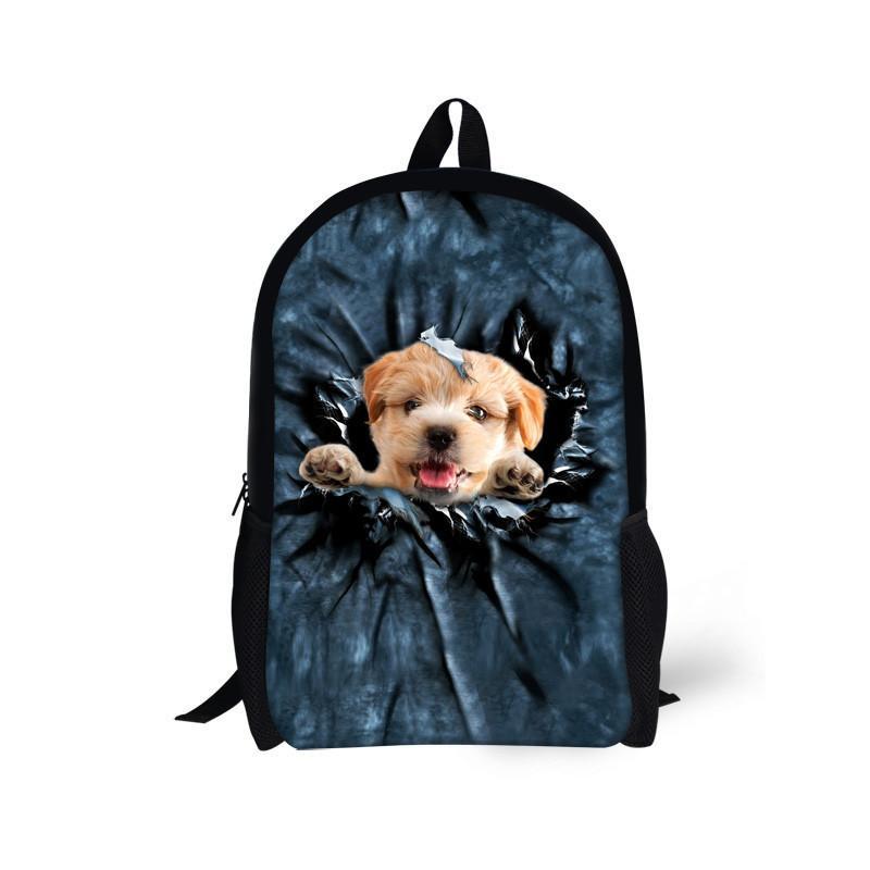 Children School Bags for Teenager Boys Girls Cute Denim Cat Dog Schoolbags Kids Bookbag 3D Cartoon Animal Backpack
