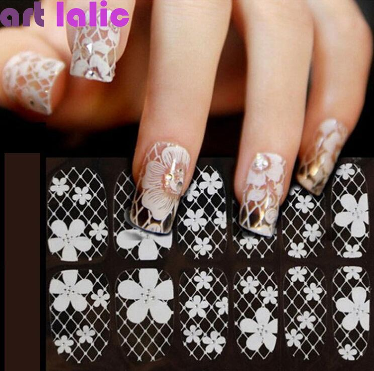 Wholesale 1 Sheet 3d French Style White Lace Bow Nail Art Sticker ...
