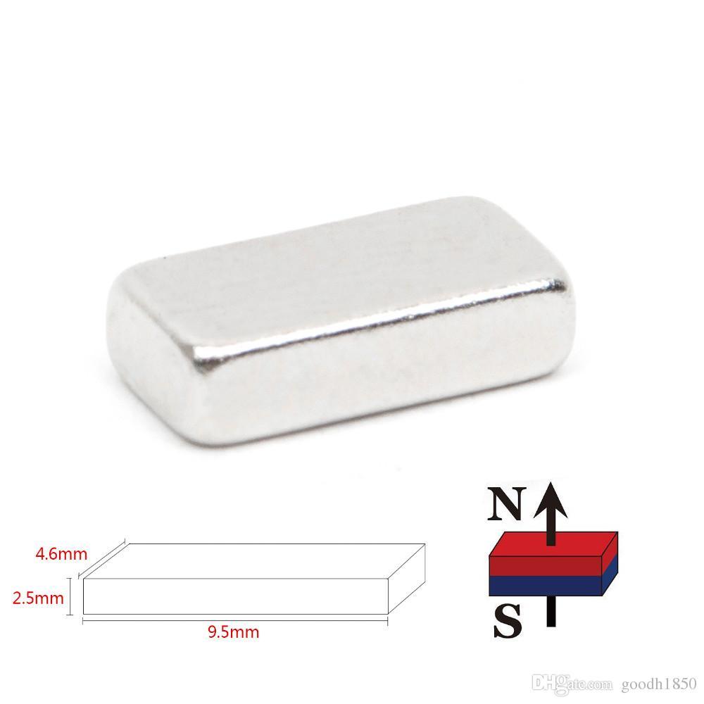 N52 Ímã Retangular 9.5 * 4.6 * 2.5mm Bloco NdFeB Neodímio Ímã Permanente de Terras Raras grande Poderoso Alto-falante de Campo Acústico