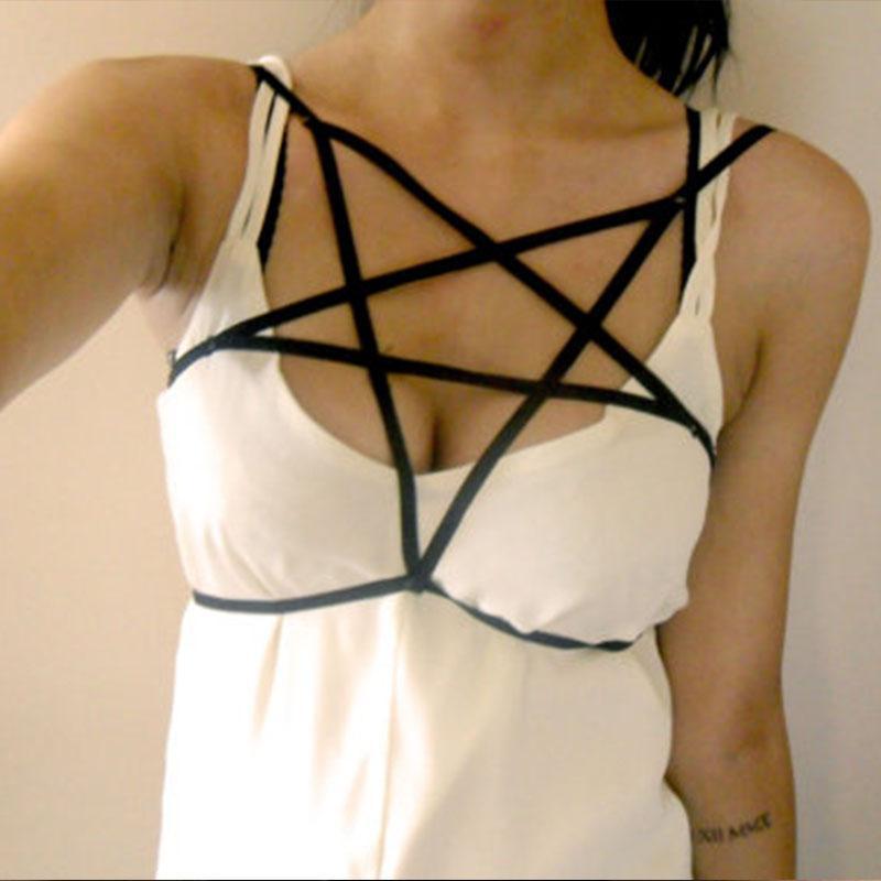 Sexy Black Bondage Lingerie Harness Pentagram For Women Cyber Punk Grunge Elastic Cage Bra Bondage Body Harnesses Bustier Corset
