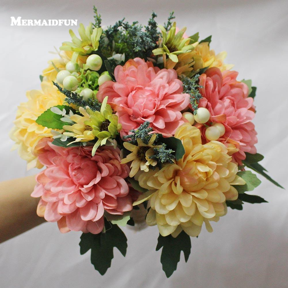 2017 Real Photos Pink Yellow Flower Wedding Bouquet Artificial