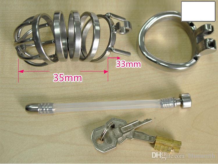 Nuovi Ultimi Design Men Bondage Cock Cage BDSM Maschio Castity Cinture di bloccaggio Dispositivo con cateteri e suoni