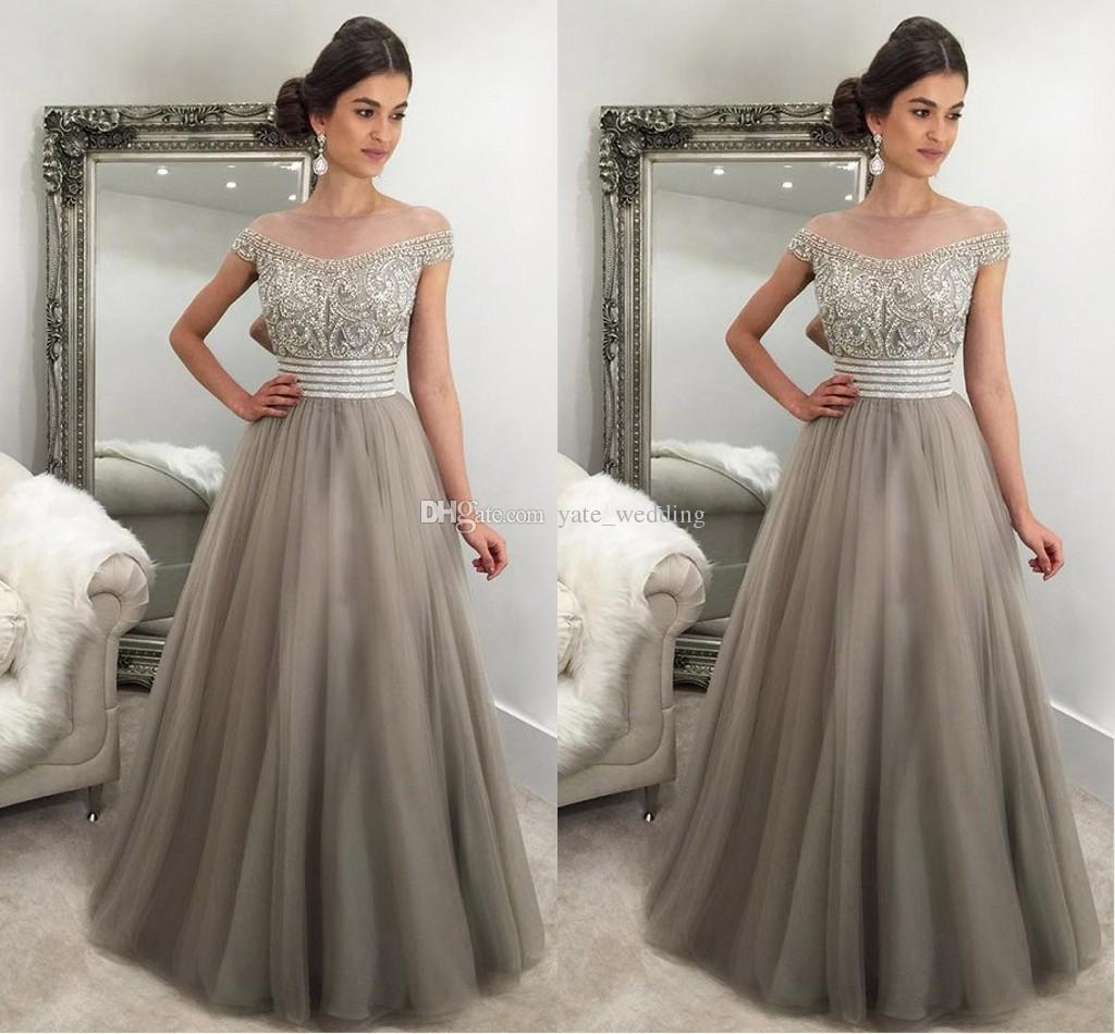 2017 Elegant Silver Gray Evening Dresses Off Shoulder Cap Sleeves ...