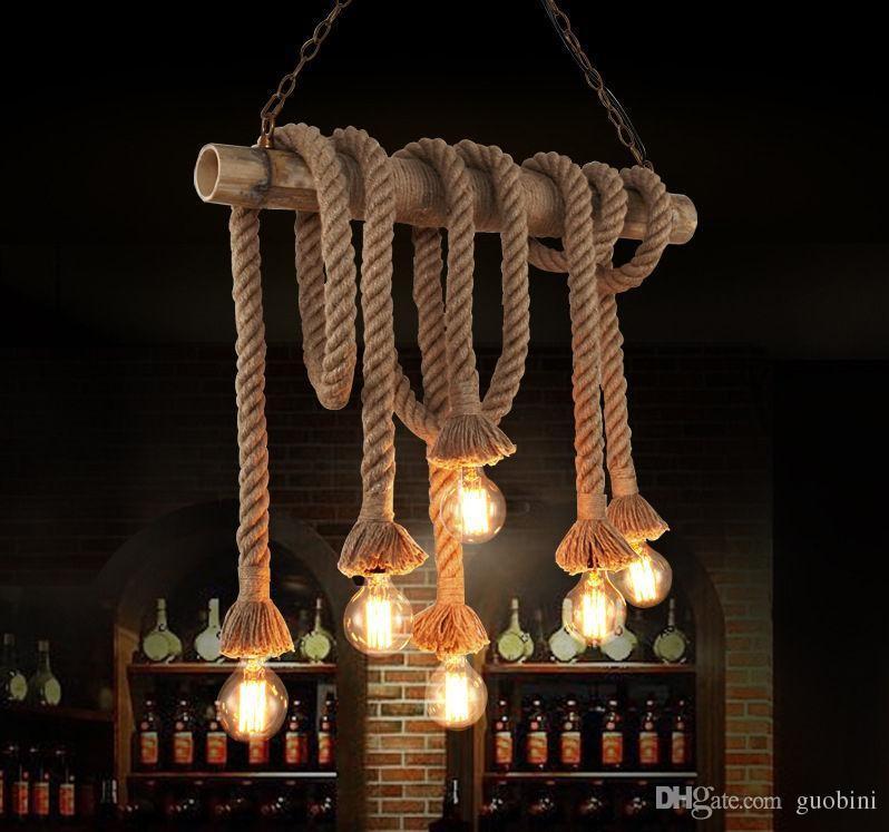 Rope Adjustable Pendant Lights Vintage Diy Chandelier Loft Creative Personality Diy Industrial Pendant Light Bar Light Fixture 90 260v Hand Blown Glass ... & Rope Adjustable Pendant Lights Vintage Diy Chandelier Loft Creative ...