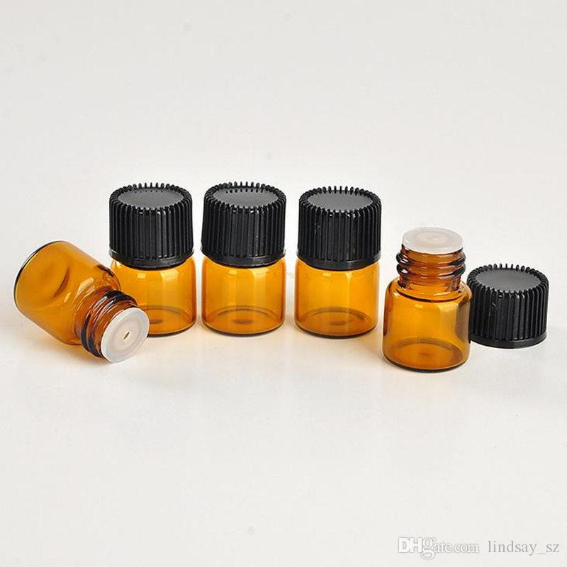 1 ml 1/4 DRAM Ámbar de vidrio Botella de aceite esencial Tubos de perfume Botella con tapones y tapas Envío rápido