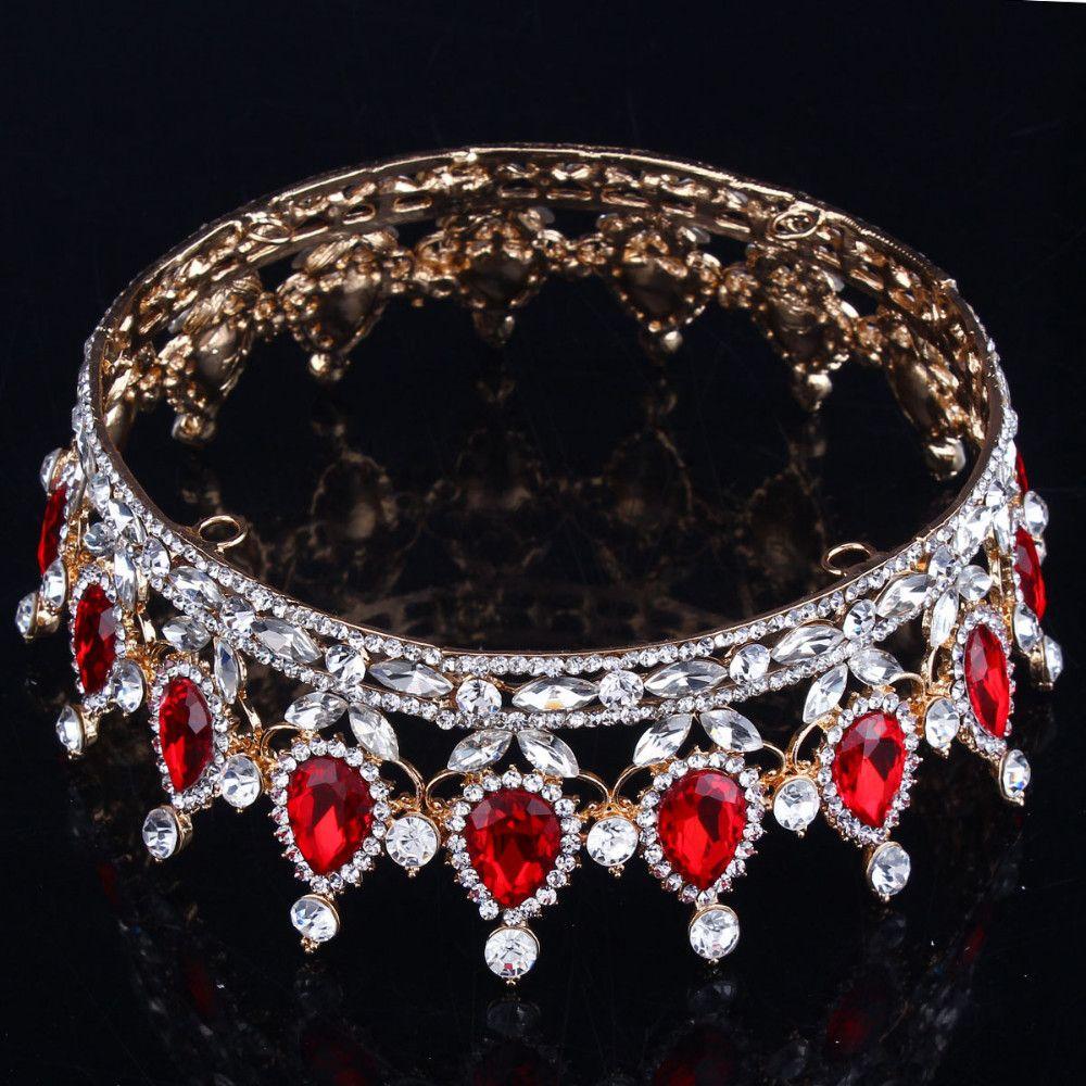 Hot European Designs royal king queen crown rhinestone tiara head jewelry quinceanera crown Wedding bride Tiaras Crowns Pageant