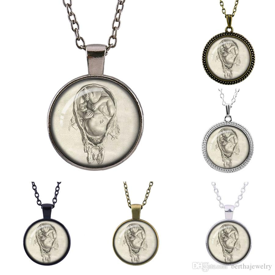 Leonardo Da Vinci fetal art Time gem Pendant necklaces Vintage Jewelry Time Glass Pendant Souvenirs give good gift for your friend