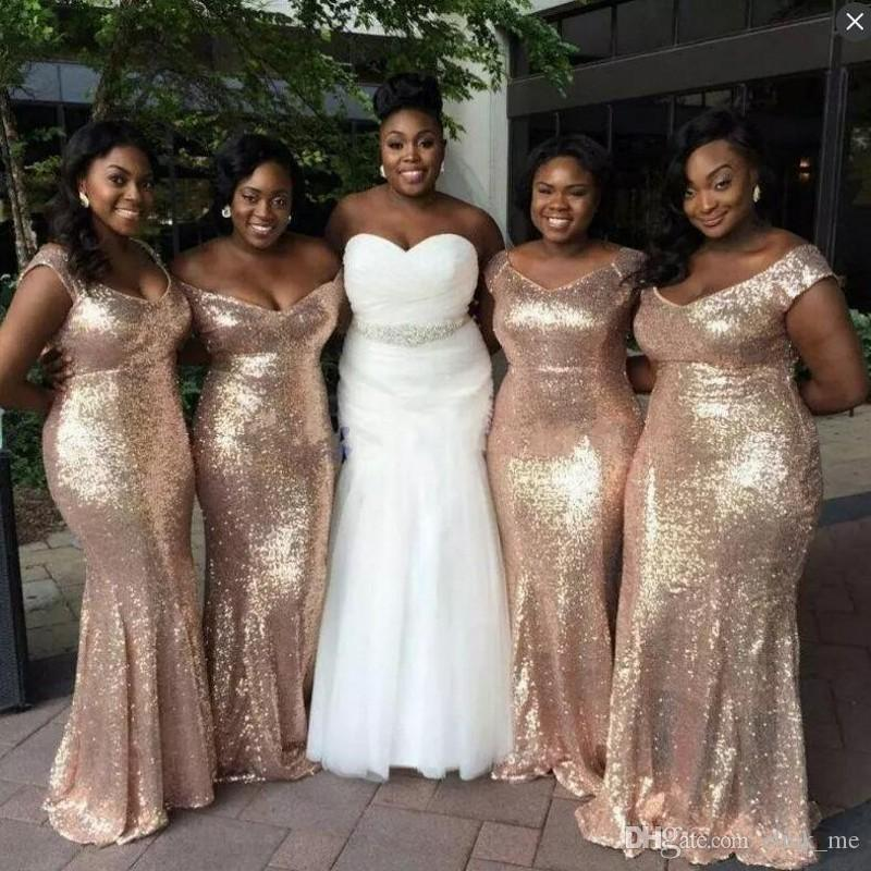 2d75d7513f07d Gold Plus Size Dresses African Women Wear Mermaid Bridesmaid Dresses Long V  Neck Cap Sleeves Wedding Party Dresses Black Girls Prom Dress Bridesmaids  ...