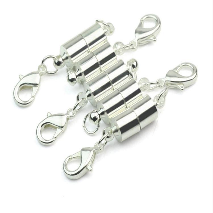 실버 / 골드 도금 자석 자석 목걸이 걸쇠 실린더 모양 걸쇠 목걸이 팔찌 보석 DIY