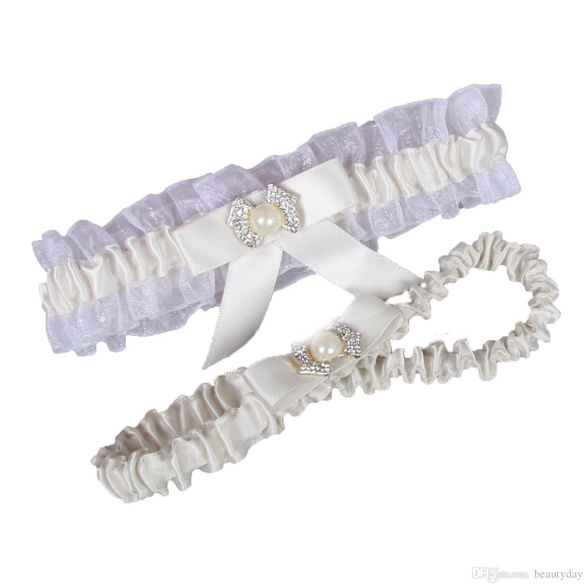 Frete Grátis Branco Marfim Perna de Casamento Ligas Laço Elástico Sexy Feminino Cristais Arco Mulheres Senhora Sheer Do Vintage Acessórios de Noiva