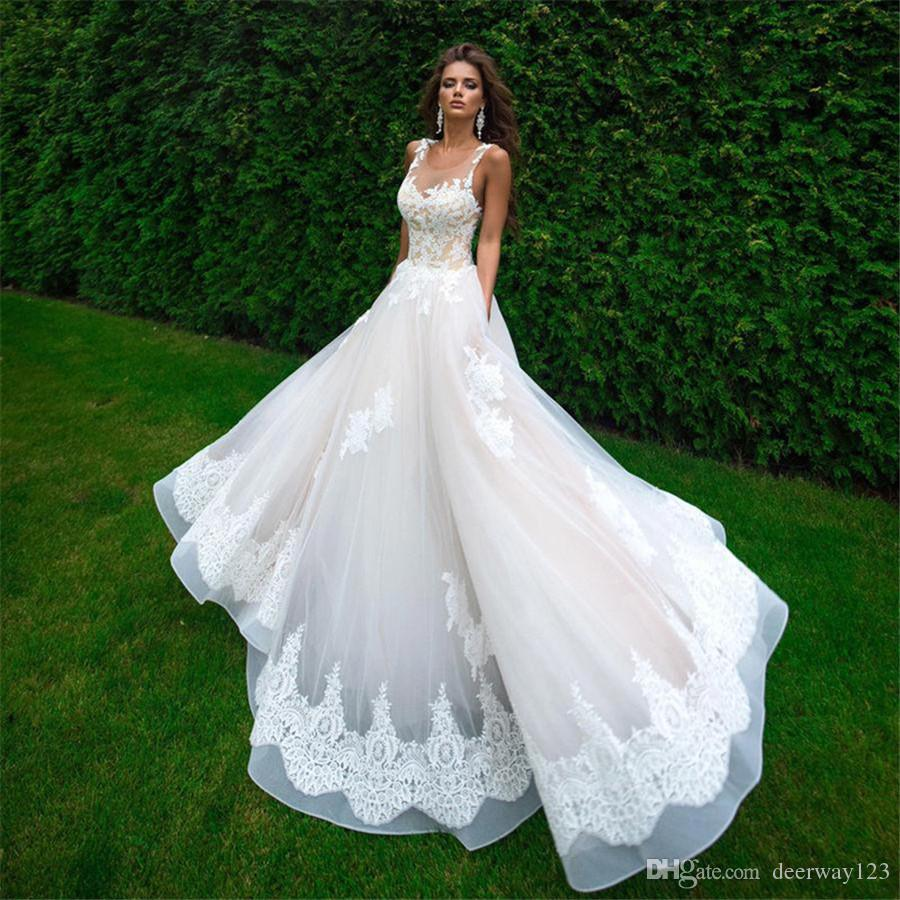고품질 샴페인과 아이보리 쉬어 탑 웨딩 드레스 바닥 길이 A 라인 Applique 신부 가운 Vestido de Noiva Robe de Mariage