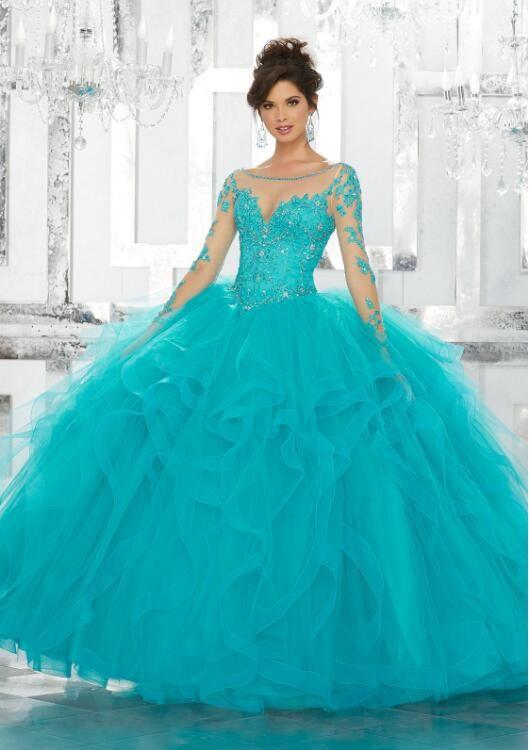 Por encargo de quinceañera vestidos de encaje apliques de lentejuelas manga larga azul vestido de tul dulce 15 vestidos más el tamaño