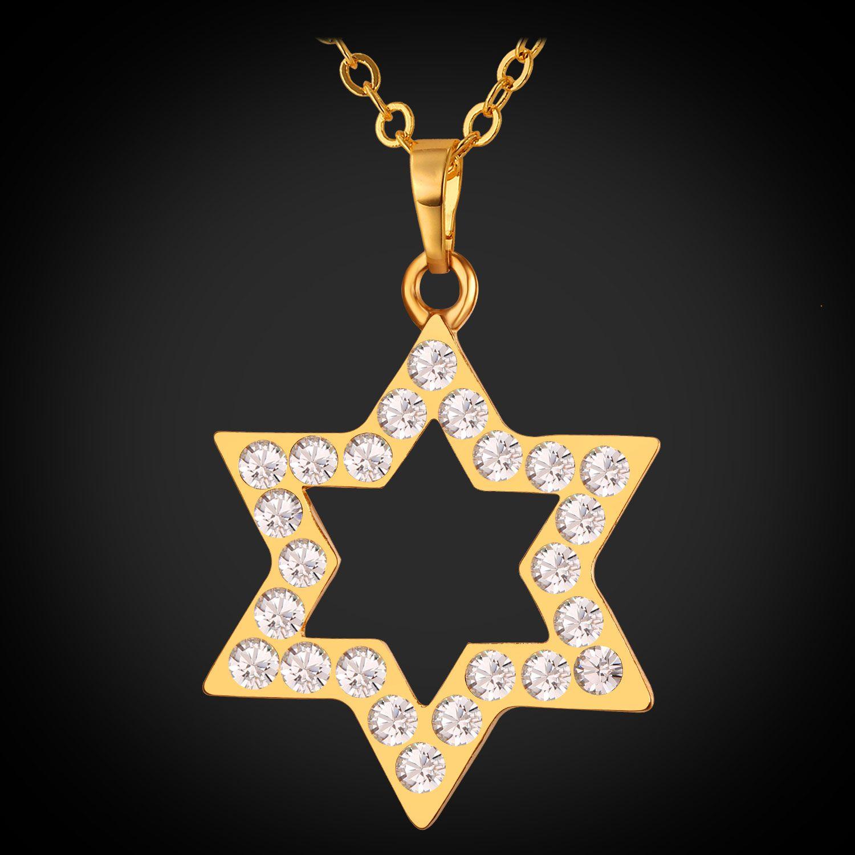 Wholesale u7 star of david pendant necklace gold plated for Star of david jewelry wholesale