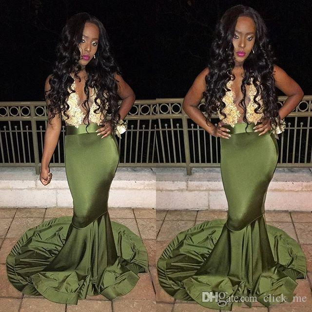 African Mermaid Prom Dresses 2K17 Deep V neck Sleeveless Lace Top Stretch Satin Black Girl Mermaid Evening Gowns Plunging Formal Party Dress