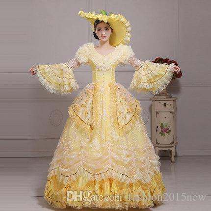 790c4d897046 Marie Antoinette Dress Medieval Renaissance Ball Gowns 2017 New Stage  Photography Show Dresses With Hat Women Lace Sequined Dress Clothes  Princess Costumes ...