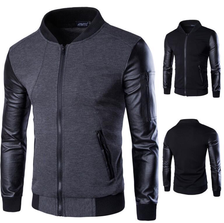 2017 Fashion Men Hoodies Patchwork Leather Sleeve Hoodies Male Jacket Sweatshirt Casual Suit Pullover