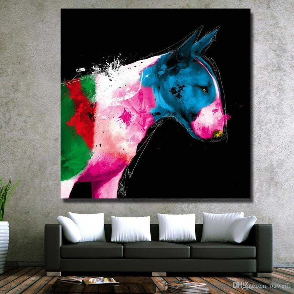 Abstract design hand painted strong animal hunting dog oil painting pictures for modern living room wall decor