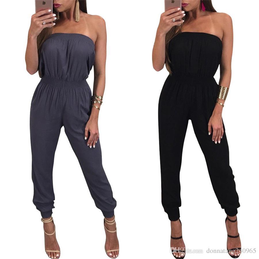 9f47c0e0da7 2017 New Fashion Elegant Sexy Tube Top Black Jumpsuit Women Summer ...