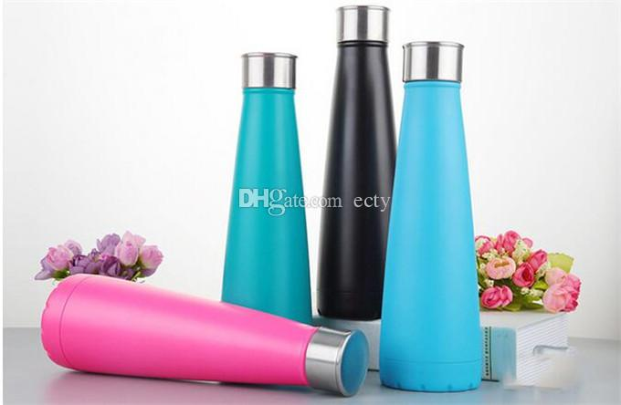 Cola Shaped Water bottle Vacuum Cup Coke bottle 500ML 17oz which enable creative 304 stainless steel vacuum keep-warm glass cup