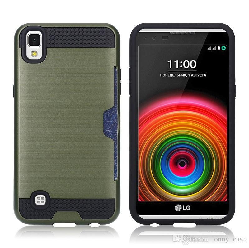 For LG Aristo LV3 V3 MS210 MetroPCS X Power K20 K6P Armor Brushed Case Hybrid Rugged Credit Card Slot Back Cover