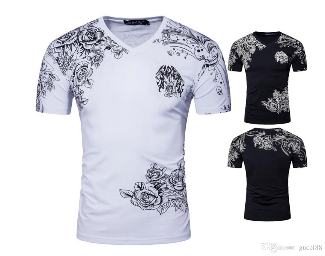 Design t shirt europe - 2017 Summer Europe And The United States Foreign Trade Men Printed T Shirts Cotton V Neck High End D056 Short Sleeve T Shirt Pt Shirts Tourist Shirt From