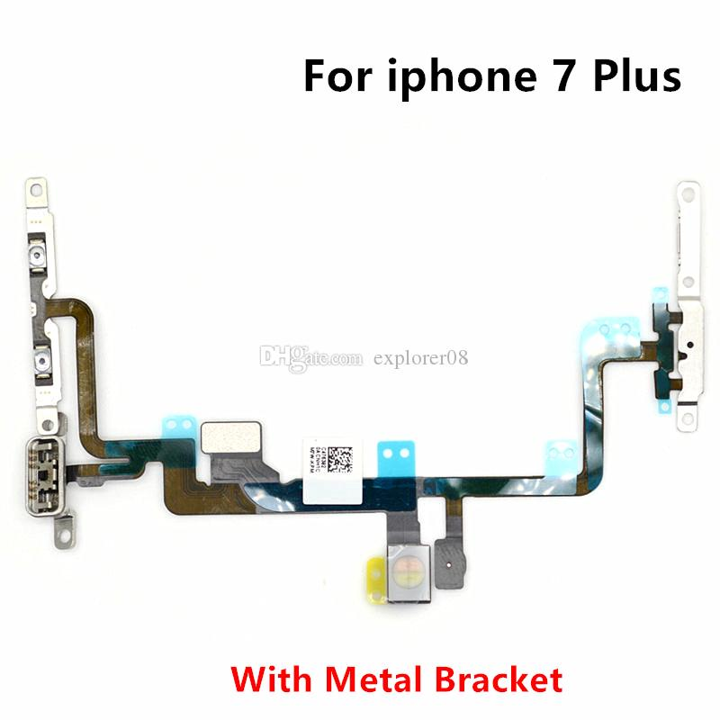 Power Volume Button Mute Switch On Off Flex Cable With Metal Bracket For iPhone 7G 4.7'' 7 Plus 5.5'' Replacement Parts
