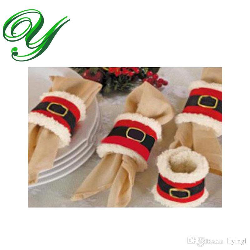Christmas Napkin Rings Holder Santa Claus Xmas Decoration Gift Pack
