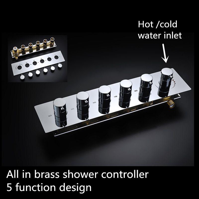 Multi-function shower head controller Brass Chrome hot/cold water shower valve shower set valve square diverter valve