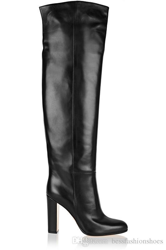 Couro clássico Coxa Preta Botas Altas Calcanhar Quadrado Dedo Do Pé Redondo Zip Over Knee Botas Altas Sapato de Outono Moda Motocicleta Botas Plataformas Mulheres