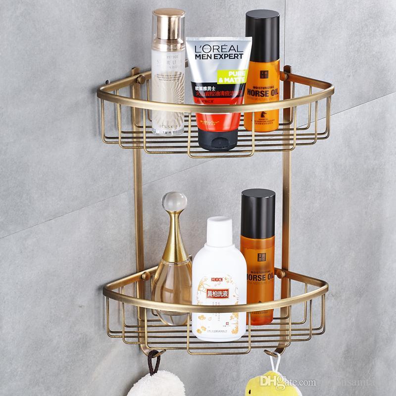 Antique Brass Makeup Organizer Bathroom Shelf Bathroom