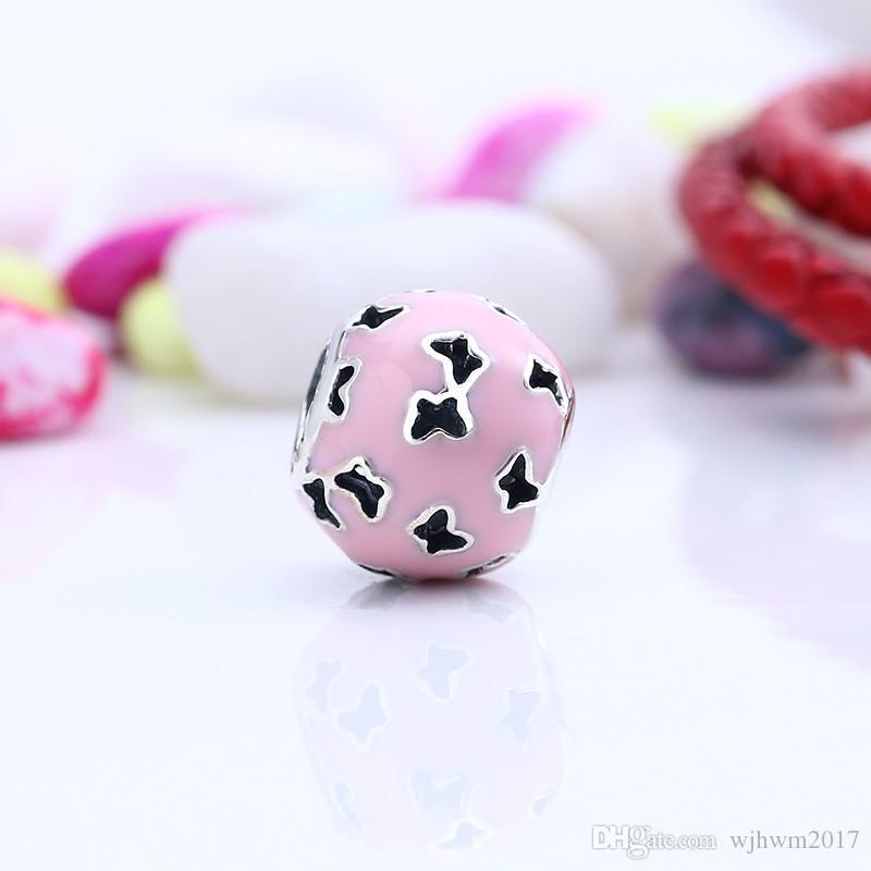 Neue Schmetterlingsperlen mit hellrosa Emaille Tier Charme Perle 925 Sterling Silber Feinschmuck Fits Marke Armband DIY Mode Juwelier Machen