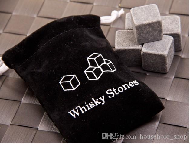 Refrigerador Whiskey Rock Pedra De Sabão Whiskey Pedras bloco de Gelo Cubo De Gelo De Vinho 9 pçs / set Gelo Com Caixa e Bolsa De Armazenamento Livre DHL
