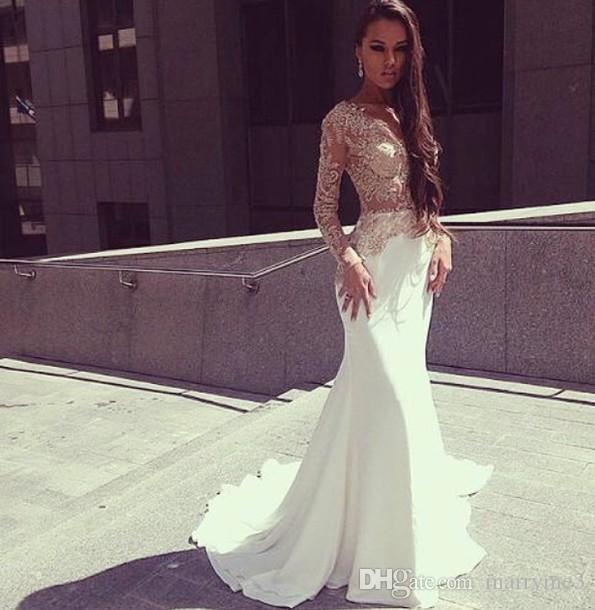 bd41a9e7903 2017 Sexy White Sheer Lace Top Long Sleeve Prom Evening Dresses Mermaid  Plus Size Party Formal Dresses Tall Prom Dresses The Winner Prom Dresses  From ...