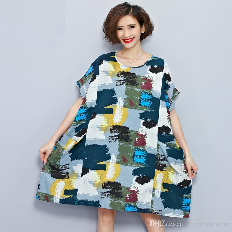 Plus Size Women Linen T-Shirt Summer Dress Chinese style Pattern Print Tops&Tees Casual Vintage Female Cotton T Shirt Dresses