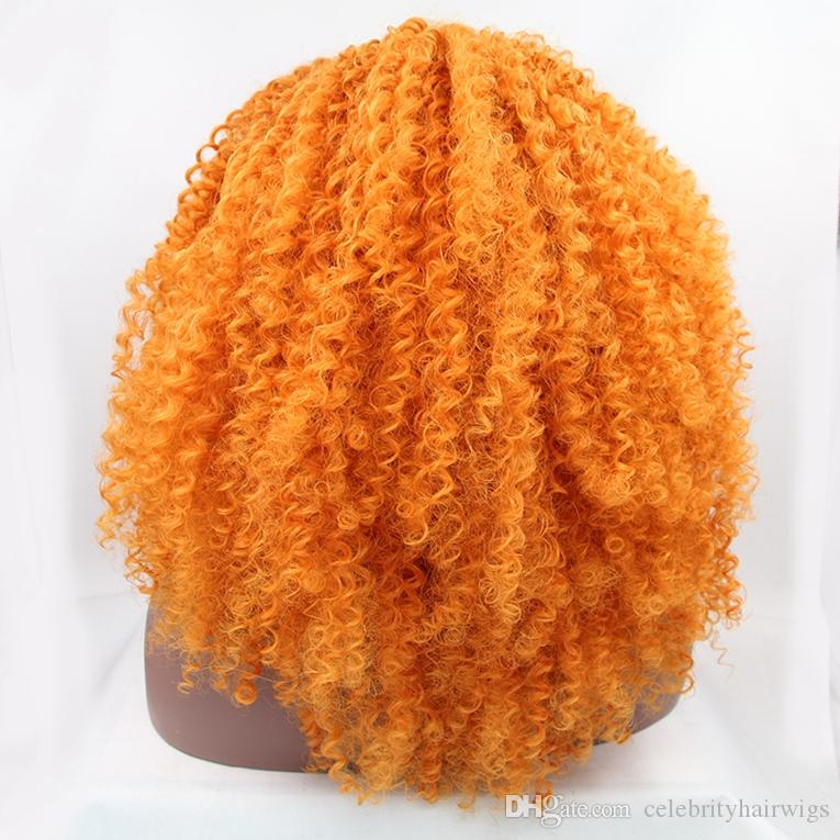 Turuncu renk afro kinky kıvırcık sentetik saç tutkalsız dantel ön peruk 24 inç gerçek resim demir taraklar