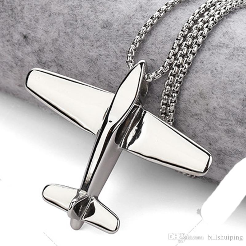Hot New Plane Aircraft women men Pendant Necklaces Hip Hop Fashion Airplane Chain Jewelry