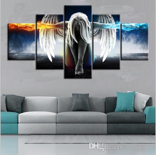 Pintura A óleo 5 Peças / set Anjo Demons Lona Impressa Anime Sala de Impressão Arte Da Parede Pintura Decoração Artesanato Decorativo Imagem Home Decor
