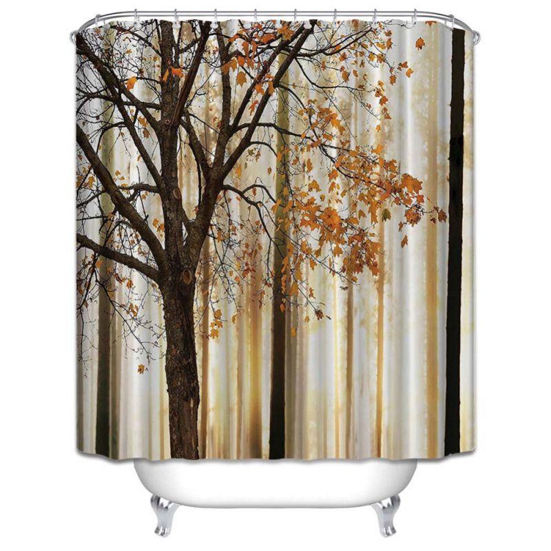 Grosshandel Mehltau Wasserdicht Polyester Duschvorhang Orange Braun Herbst Baume Digitaldruck Mit Haken Badezimmer Dekor Geschenke Von Bassy168